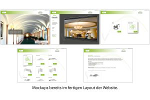 Screenshots von Mockup auf Basis von Scribbles. Mockups zeigen Website.