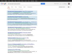 "Google-Recherche ""Internationale Fachpressearbeit""."